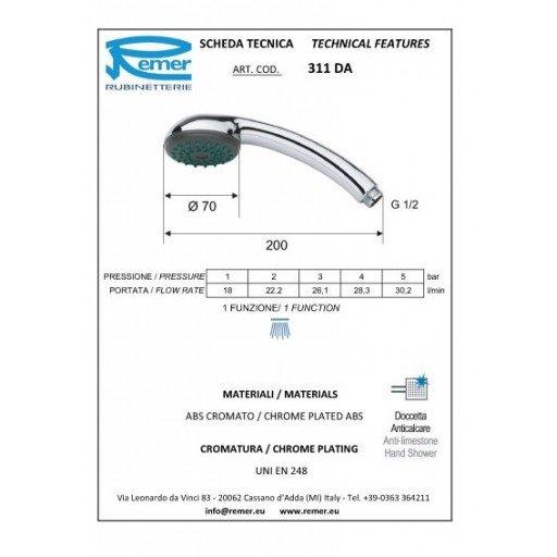 Душ слушалка Arco антиваровикова (Ръчен душ 311DA едноструен) на цени от 3.99 лв. само в dklux.com